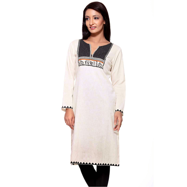 White and Black Tribal Print Pure Cotton Kurti