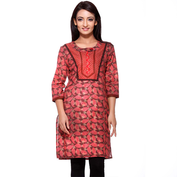 Maroon Floral Printed Pure Cotton Kurti