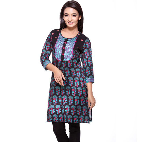Black Blue and Pink Floral Print Cotton Kurti