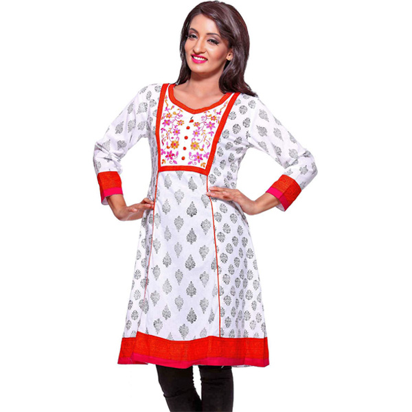 Pure White and Red Floral Block Printed Cotton Kurti