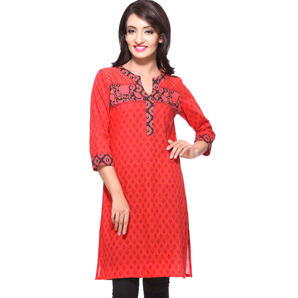 Red 3/4th Sleeves Pure Cotton Block Print Kurti