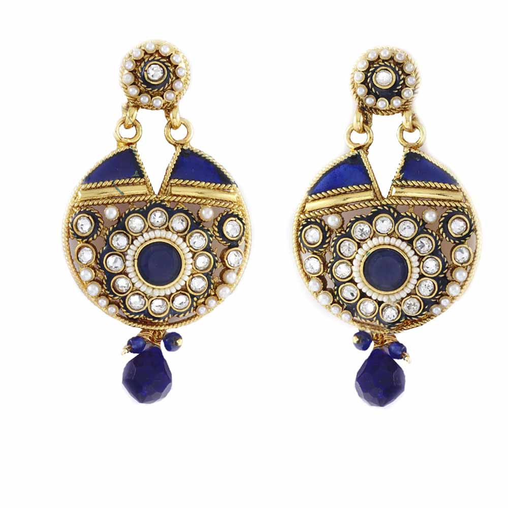 Disc Shaped Alloy Metal Earring with Blue Enamel