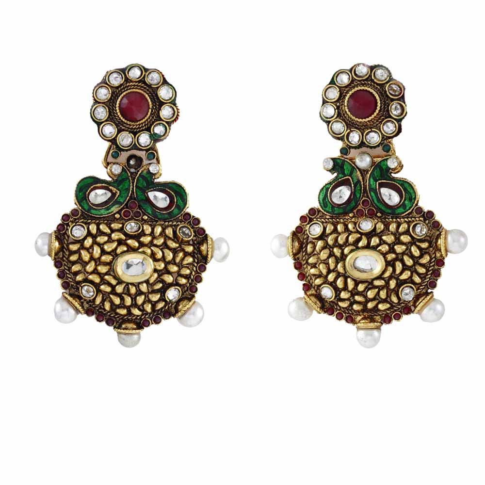 Filigree Alloy Metal Chandelier Earring with Kundans and Ruby