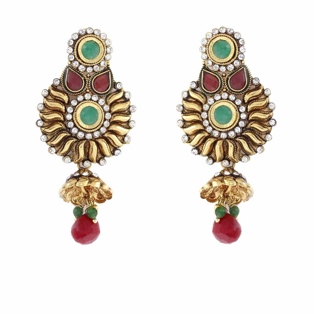 Alloy metal ruby, emeralds and CZ Chandelier Earrings
