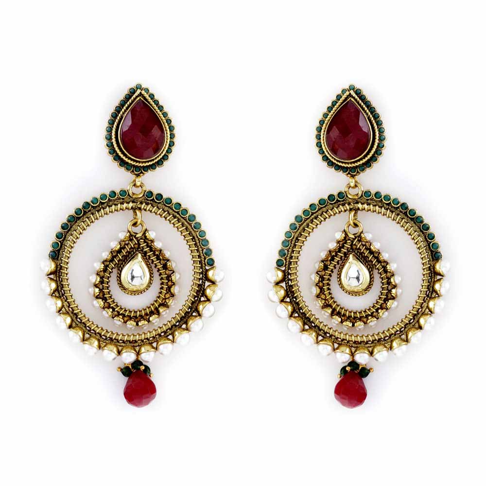 Nested Earrings with Pearls, Ruby and emeralds