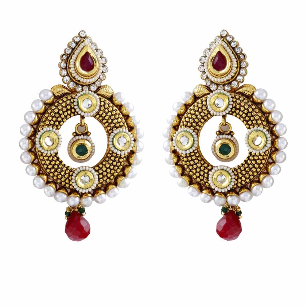 Round Chandelier Earrings with Kundans, Ruby and pearls