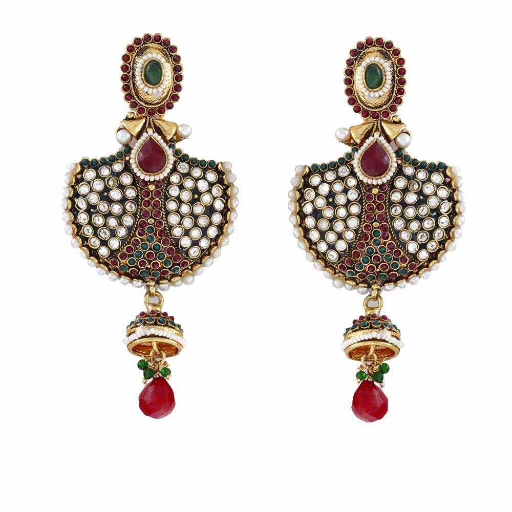 Fan Shaped Kundans Earrings with ruby and emeralds