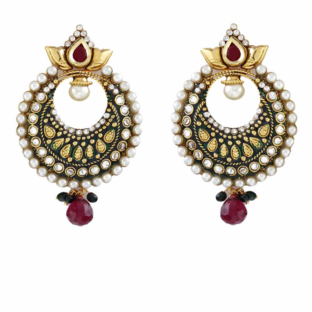 Pearl Chand balis with Kundans and Rubies