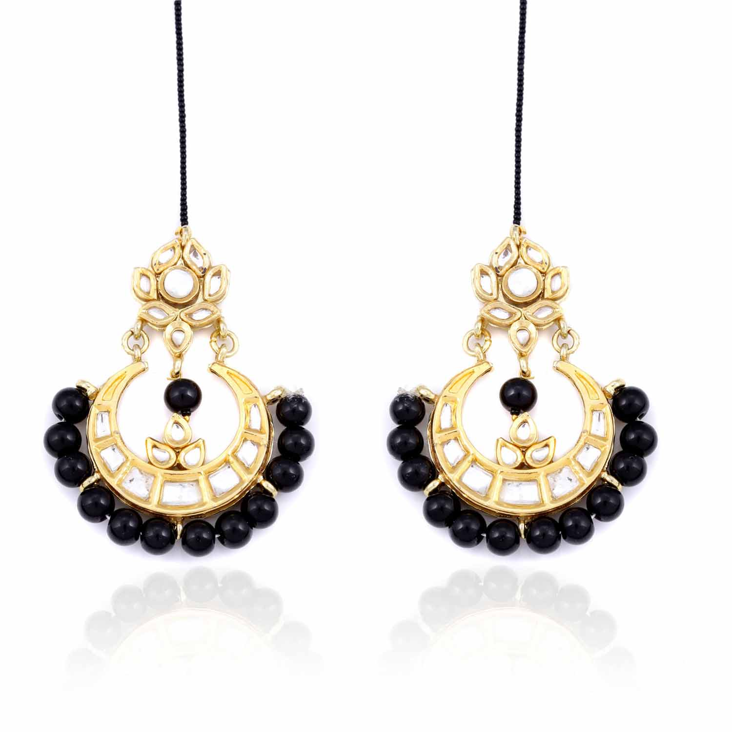 Black Beads Chandelier Earrings
