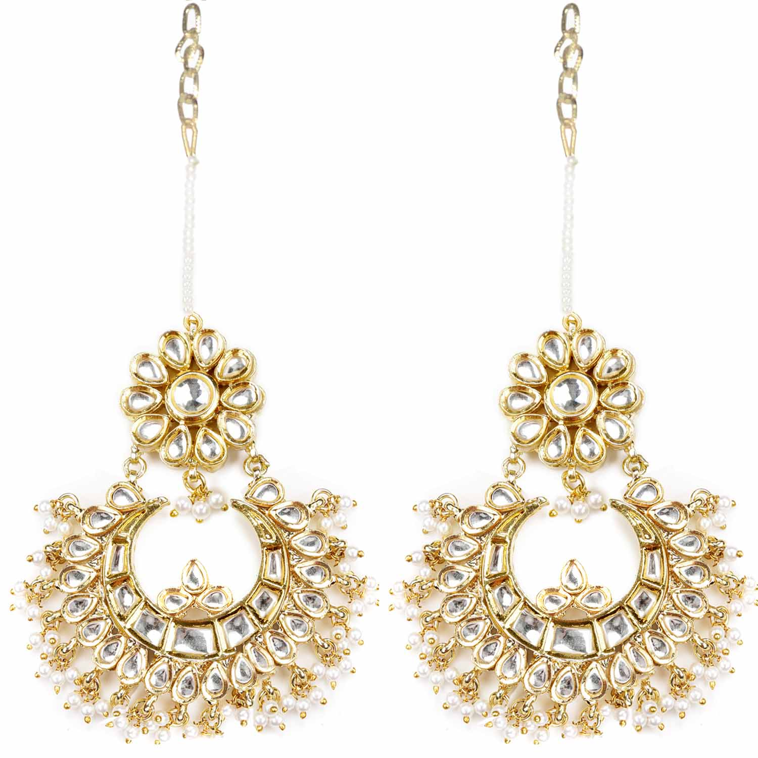 Chandelier Earrings with White Beads and Clear Crystals