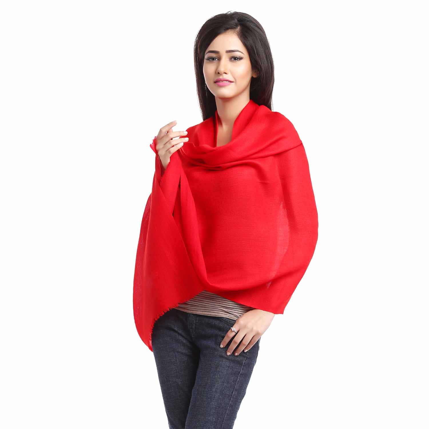 Real Red Viscose Stole with Tassels
