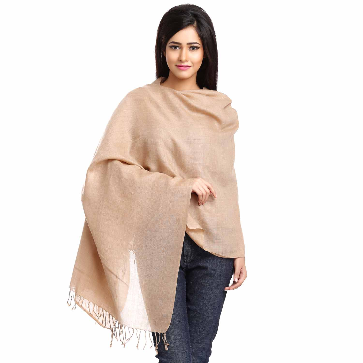 Light Brown Viscose Stole with Small Fringe