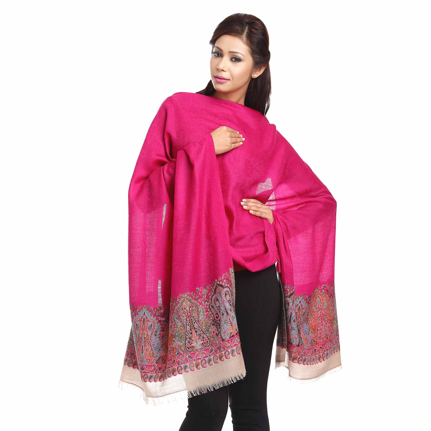 Stoles-Fuchsia Stole with A Paisley Design Border.