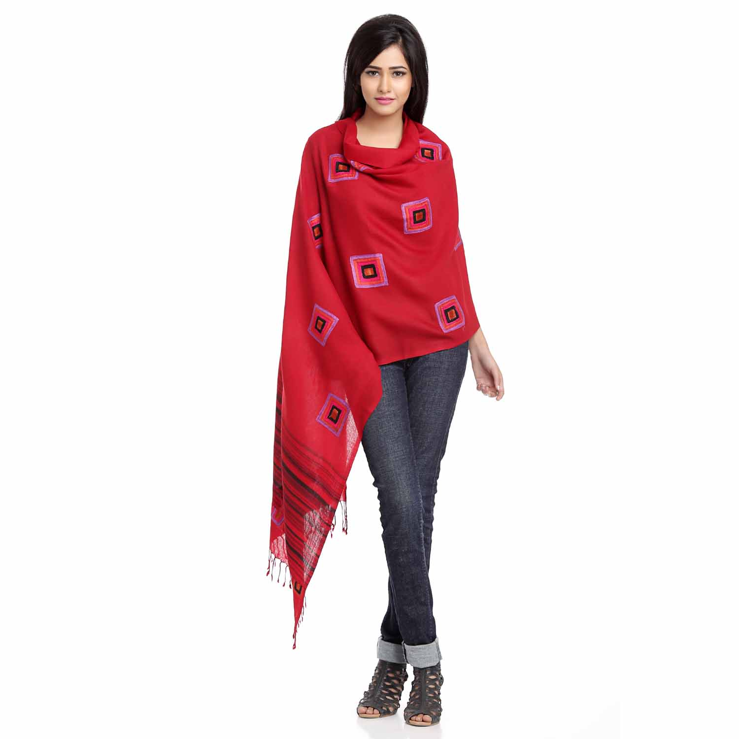 Stoles-Ruby Red Viscose Stole with Block Embroidery