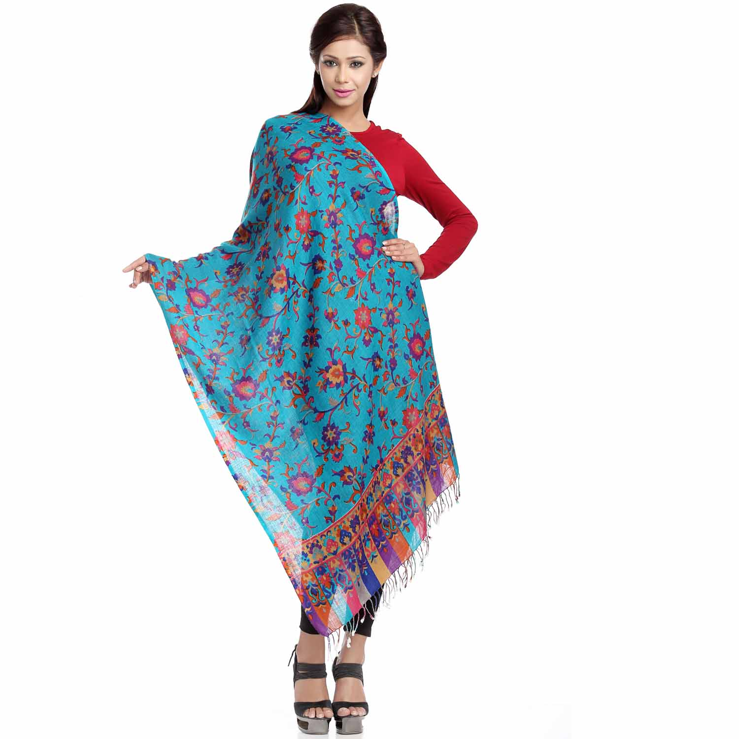Floral Print and Embroidery Viscose Stole with Tassels