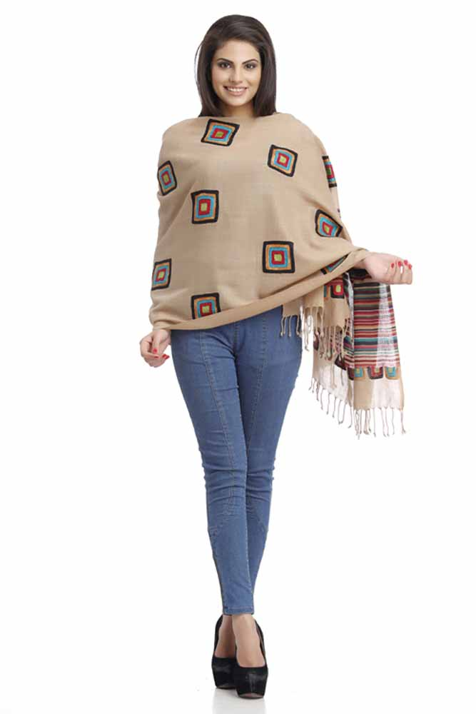 Stoles-Beige Woolen Stole with Striped Pattern