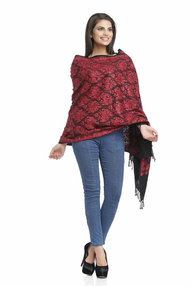 Stoles-Red & Black Woolen Stole with Jali Design