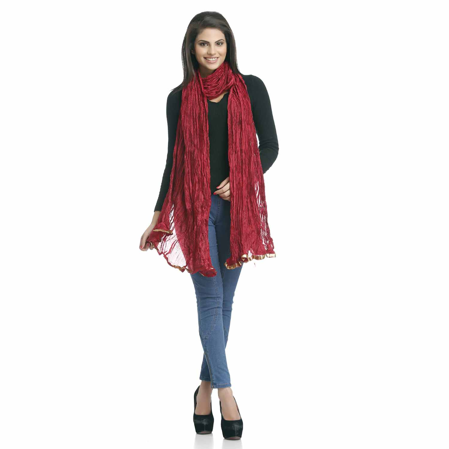 Stoles-Red Crushed Poly Silk Dupatta with Gotta Lace border