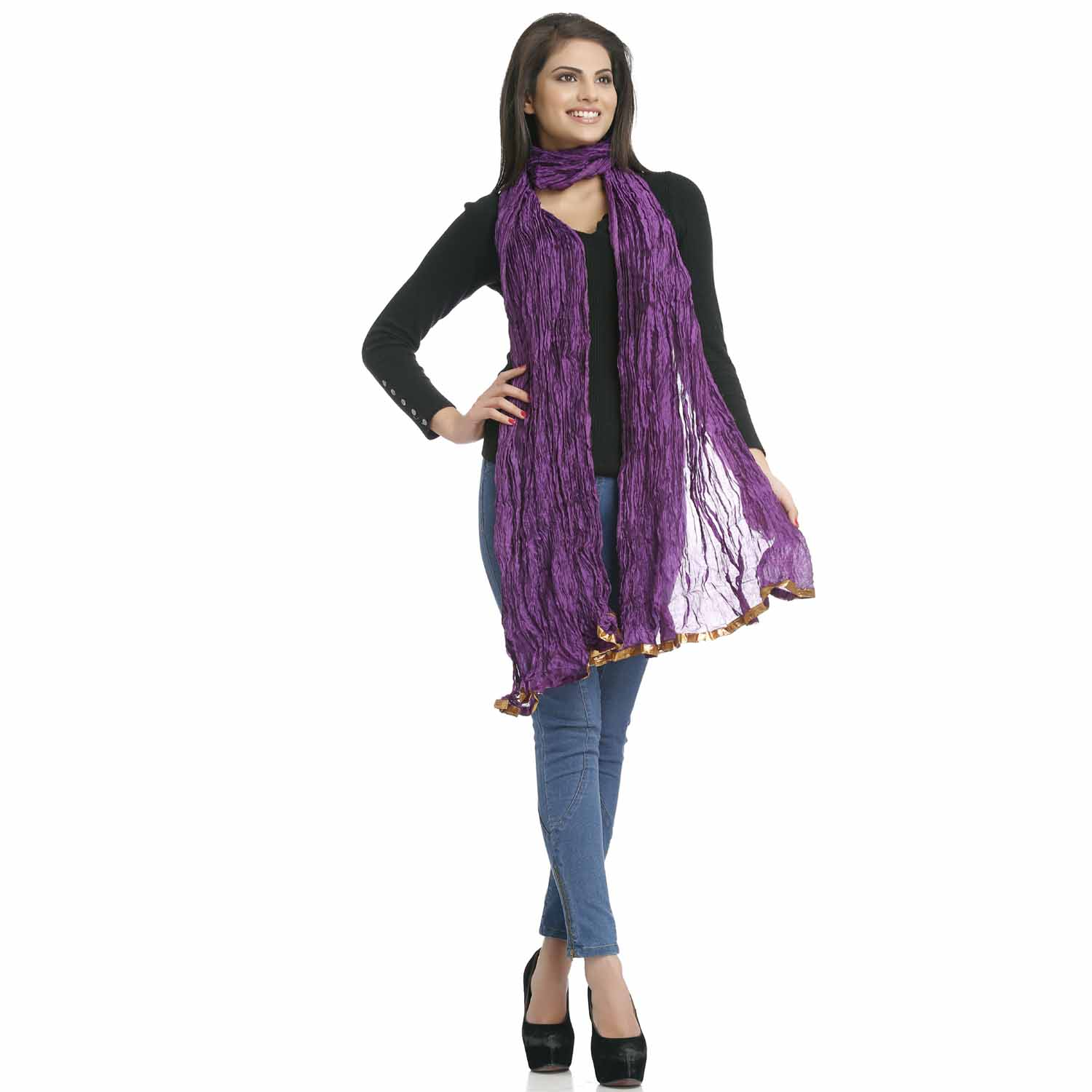 Solid Purple Crushed Poly Silk Dupatta with Gotta Fringe