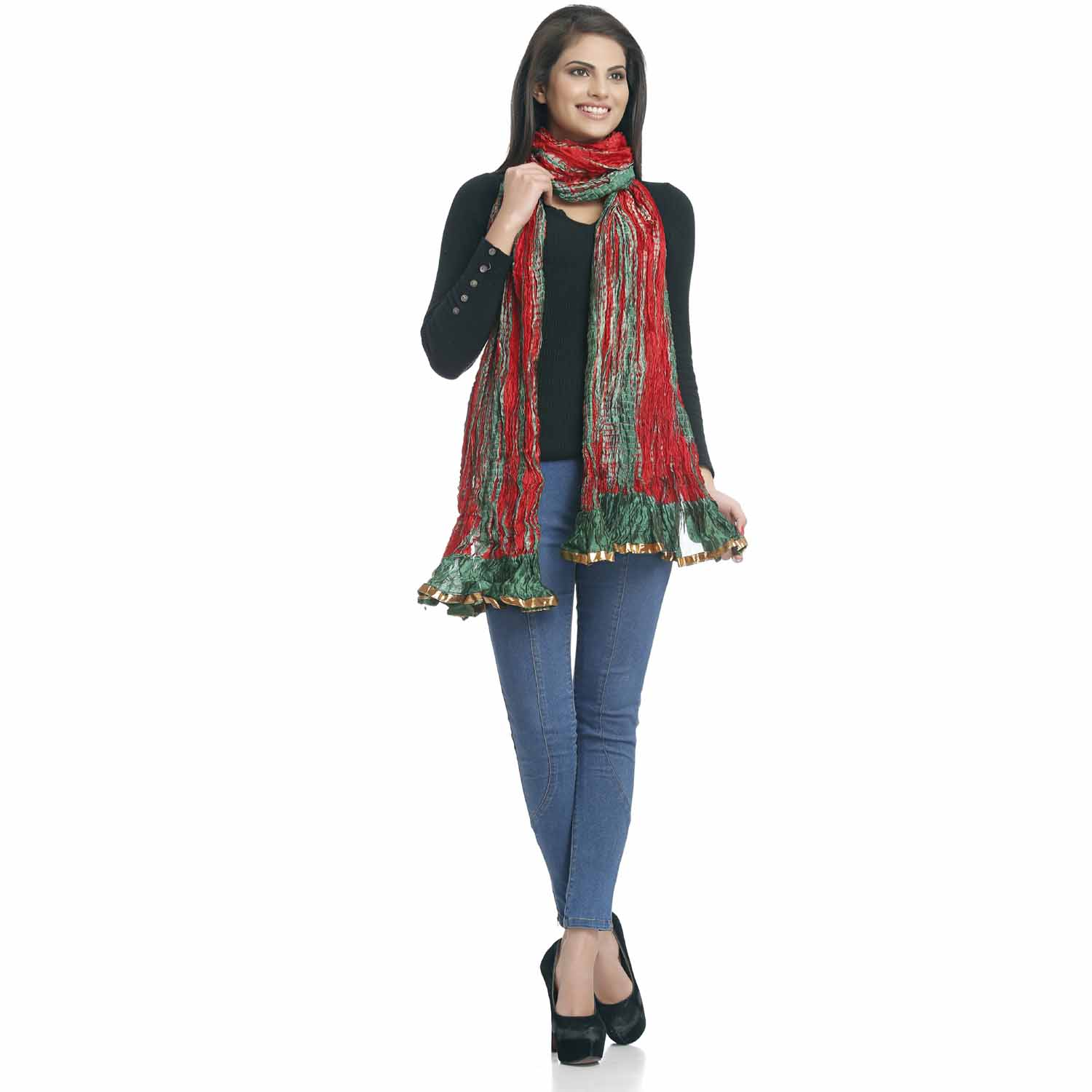 Stoles-Red and Green Crushed Poly Silk Dupatta with gotta lace