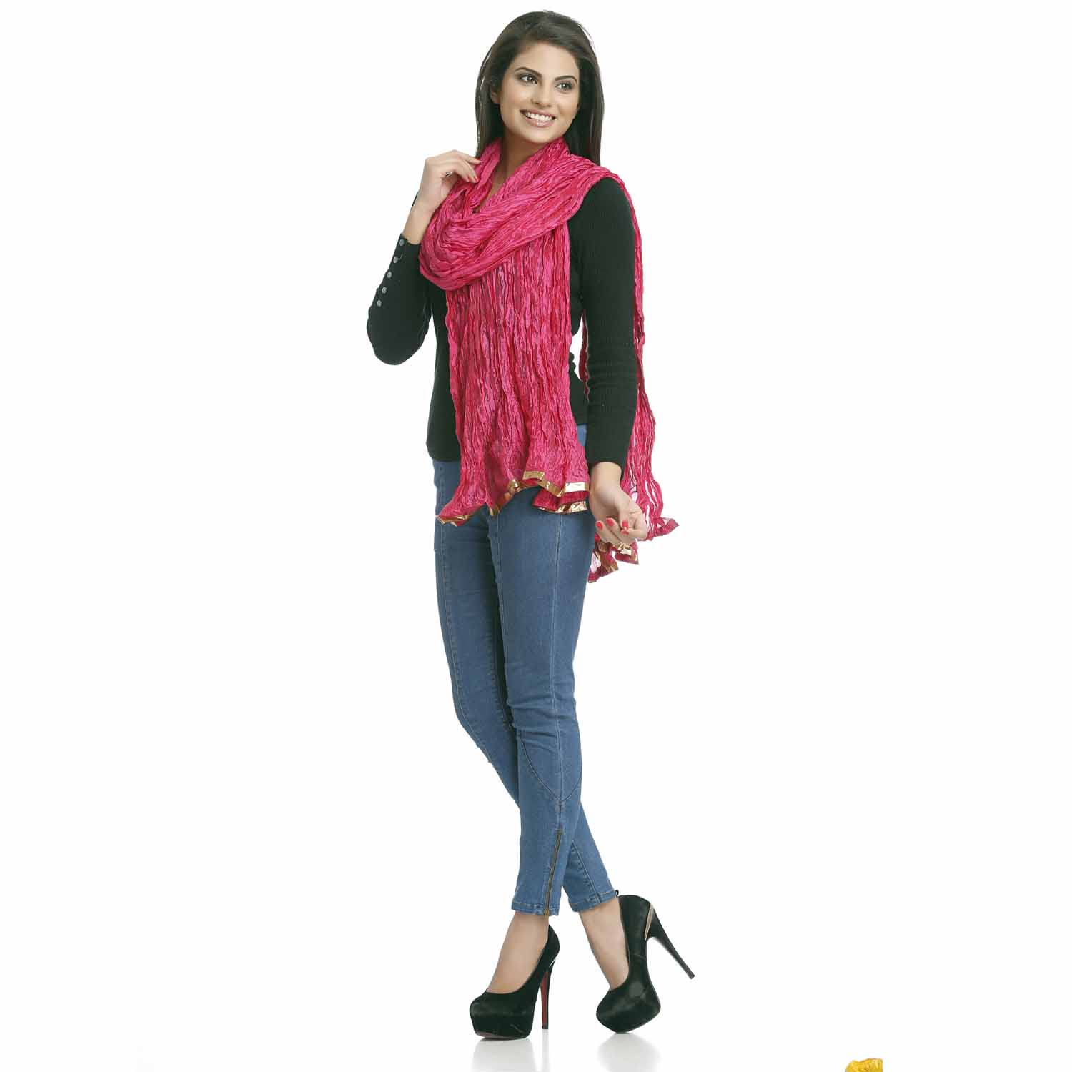 Stoles-Deep Pink Crushed Poly Silk Dupatta with gotta lace