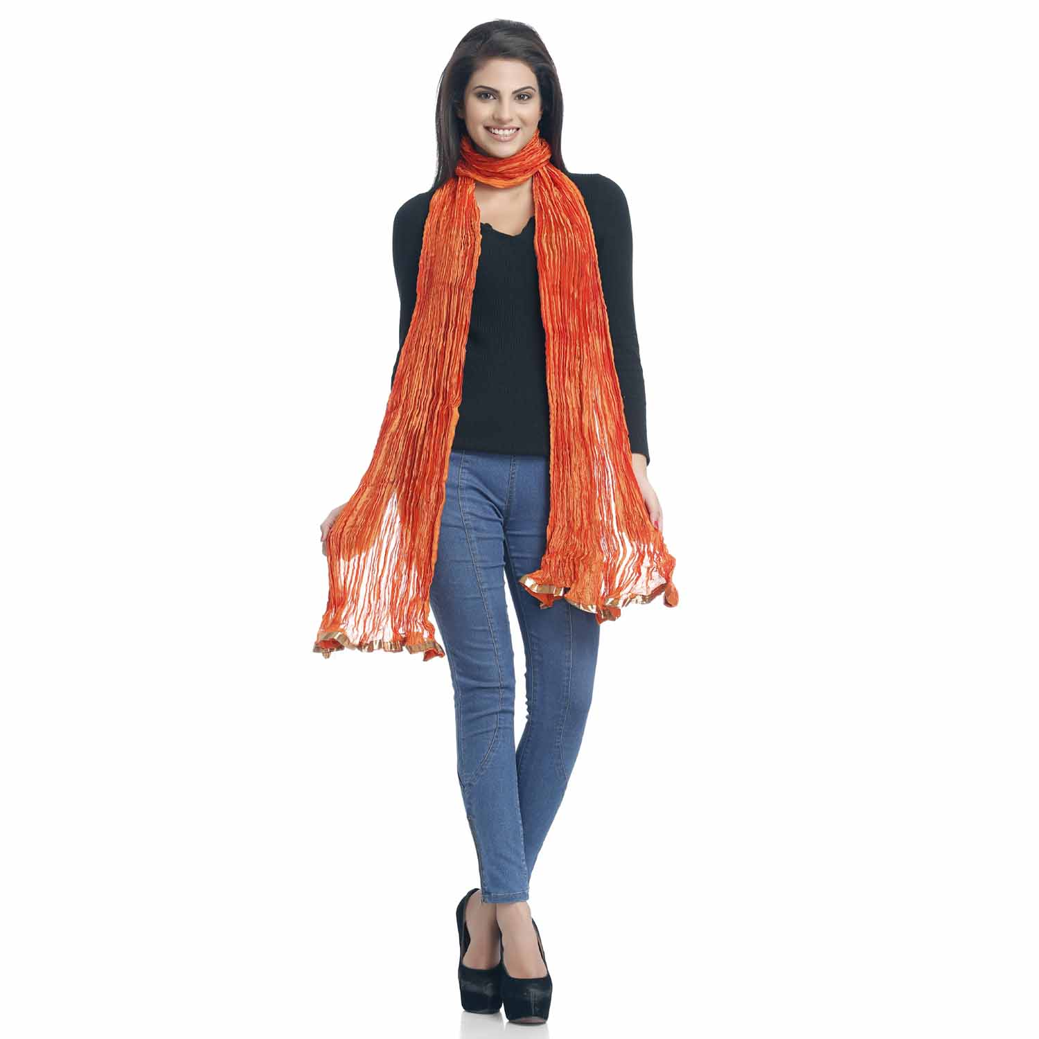 Orange Crushed Poly Silk Dupatta with gotta lace