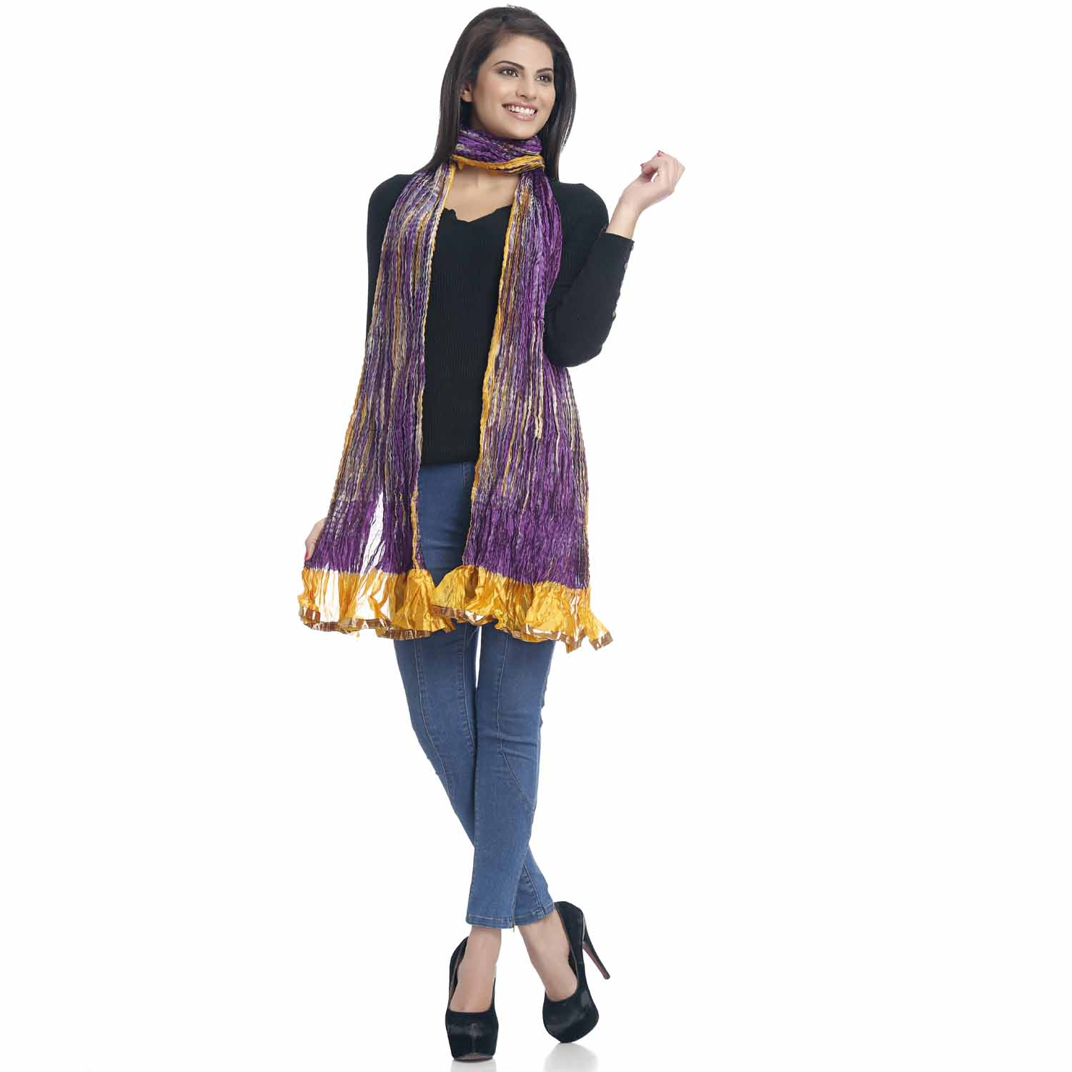 Stoles-Purple and Yellow Crushed Poly Silk Duapatta with Gotta lace