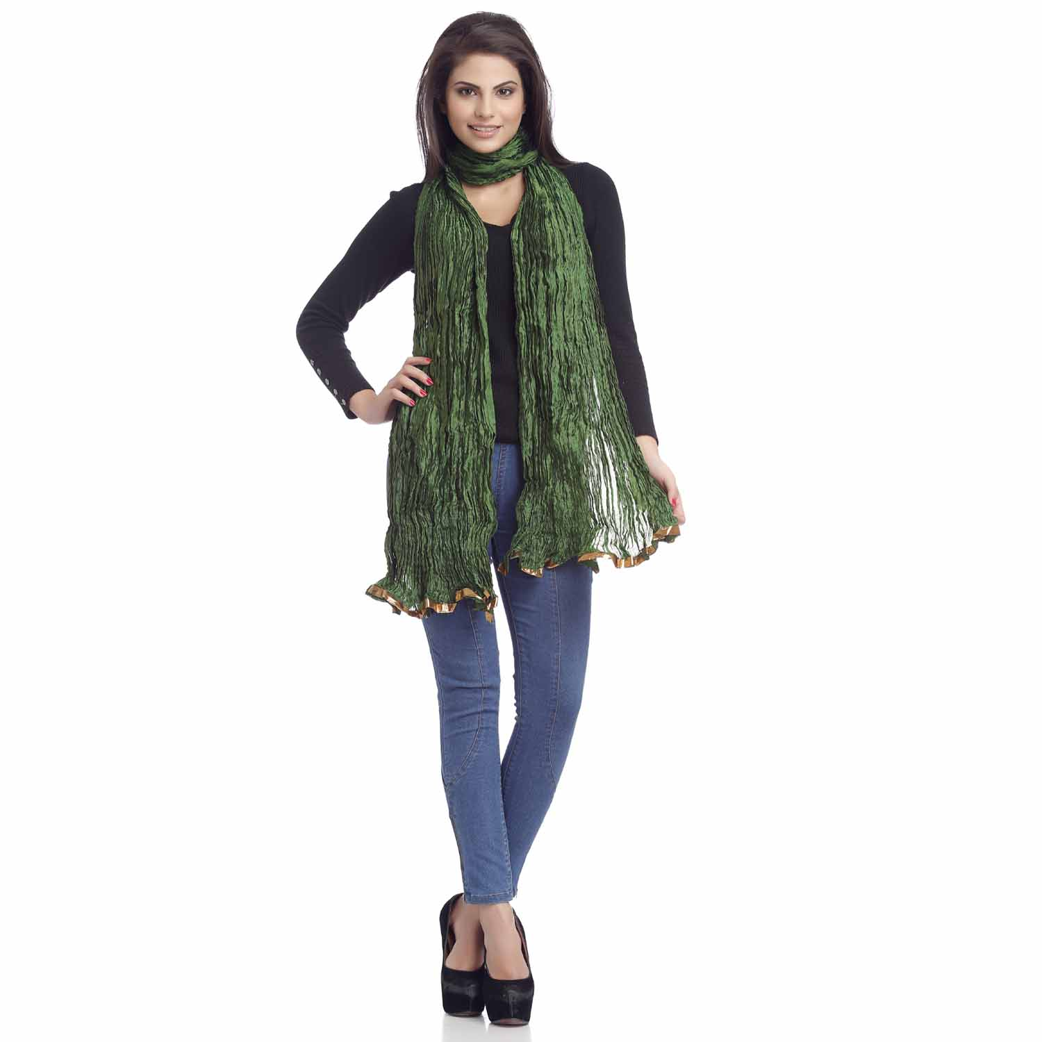 Stoles-Dark Green Crushed Poly Silk Duapatta with Gotta lace