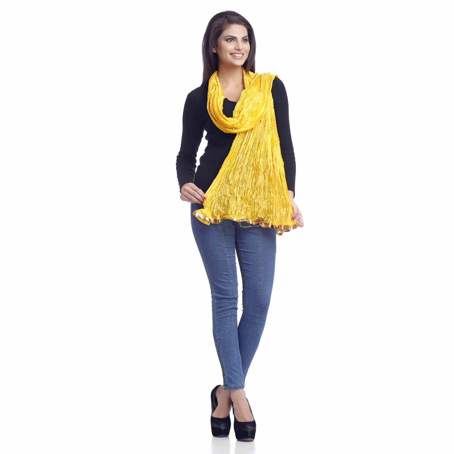 Bright Yellow Crushed Poly Silk Duapatta with Gotta lace