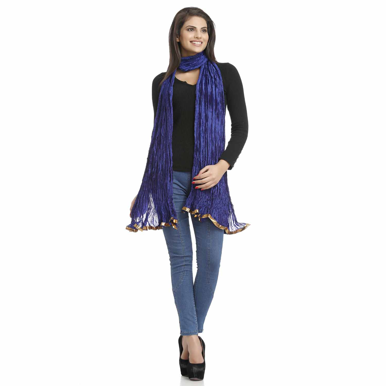 Stoles-Indigo Crushed Poly Silk Dupatta with Gotta Lace
