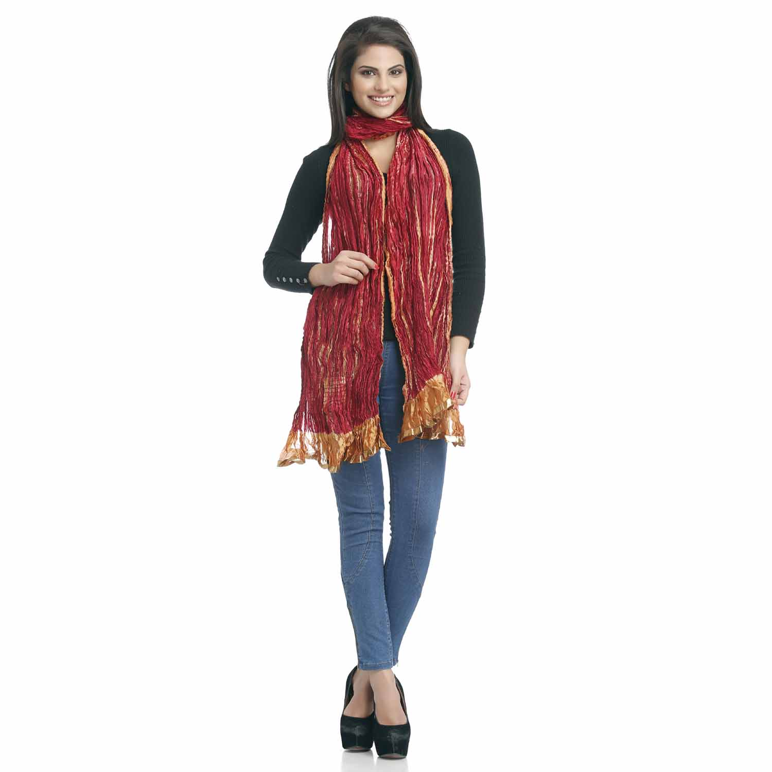 Stoles-Maroon and Mustard Crushed Poly Silk Dupatta