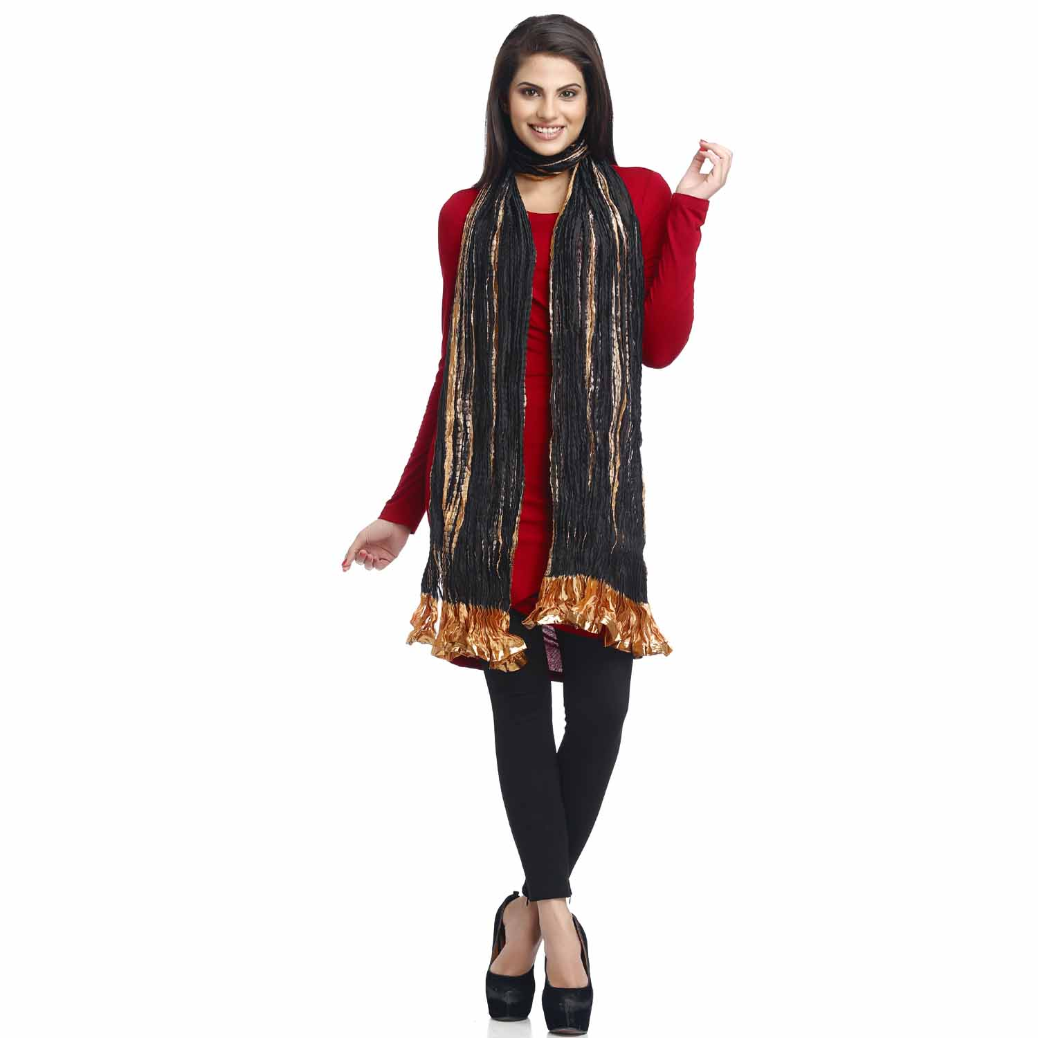 Black and Mustard Crushed Poly Silk Dupatta