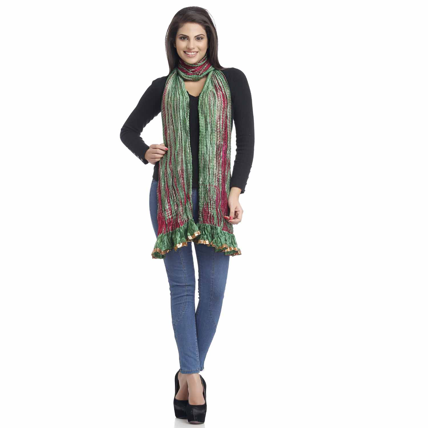 Stoles-Green and Pink Crushed Poly Silk Dupatta