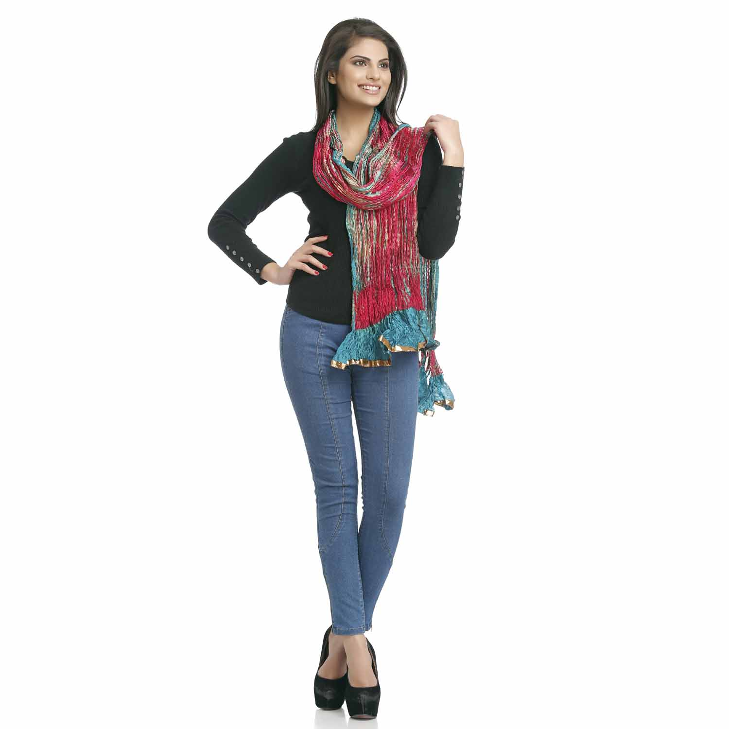 Stoles-Crushed Poly Silk Dupatta in Deep Red and Blue with gotta lace