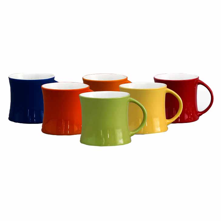 Doble Solid Color 6 Bone China Mug Set