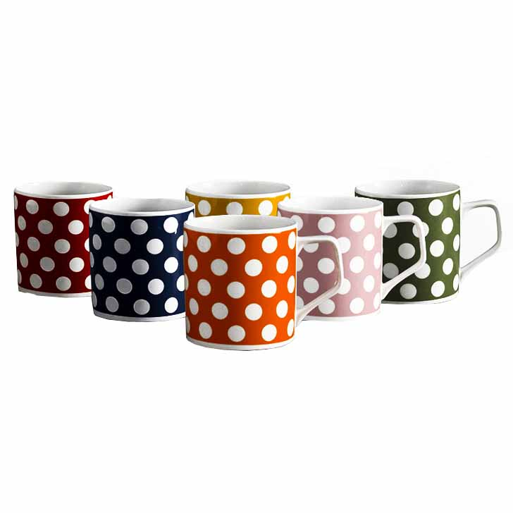 Polka Dots 6 Pc Coffee Mug Set
