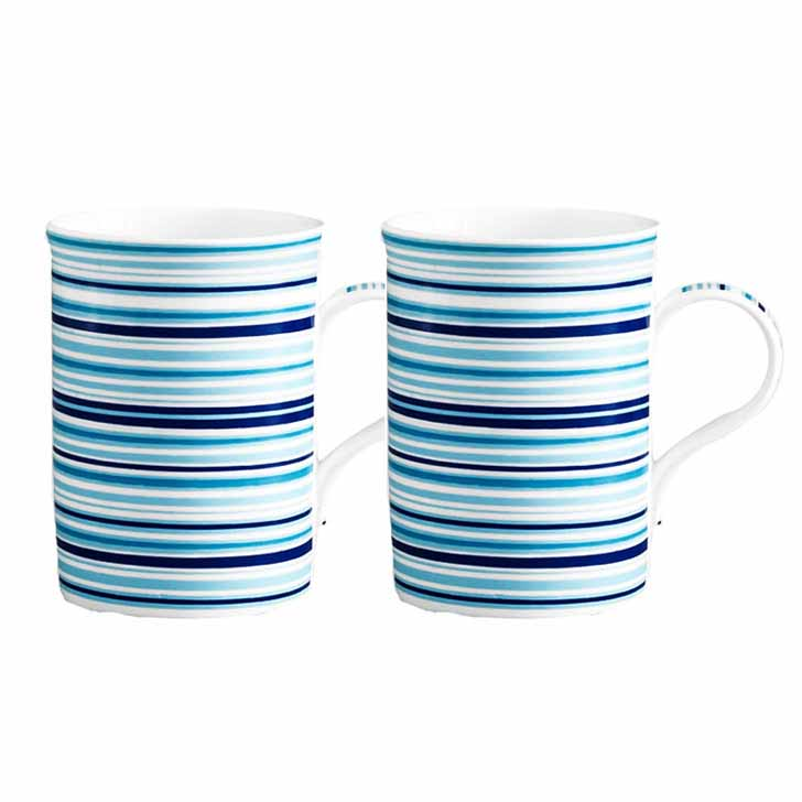 White and Blue Milk Mug with Circular Stripes