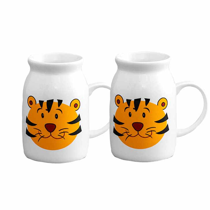 Tiger Print White and Yellow Bone China Mug