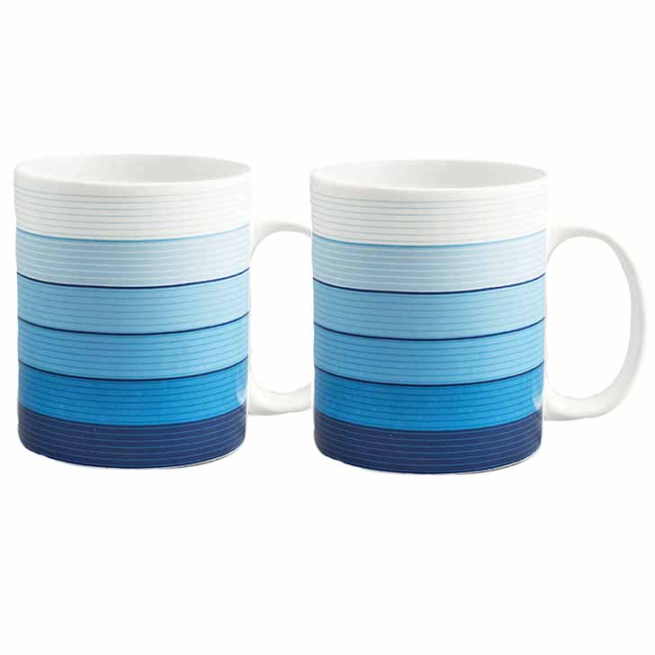 White and Blue Striped Bone China Mug