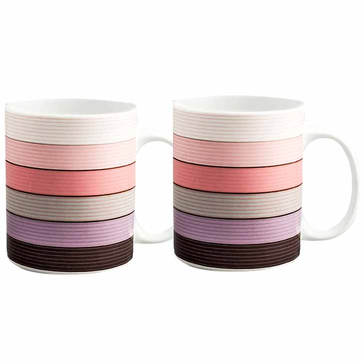 Multicolor Striped Bone China Mug