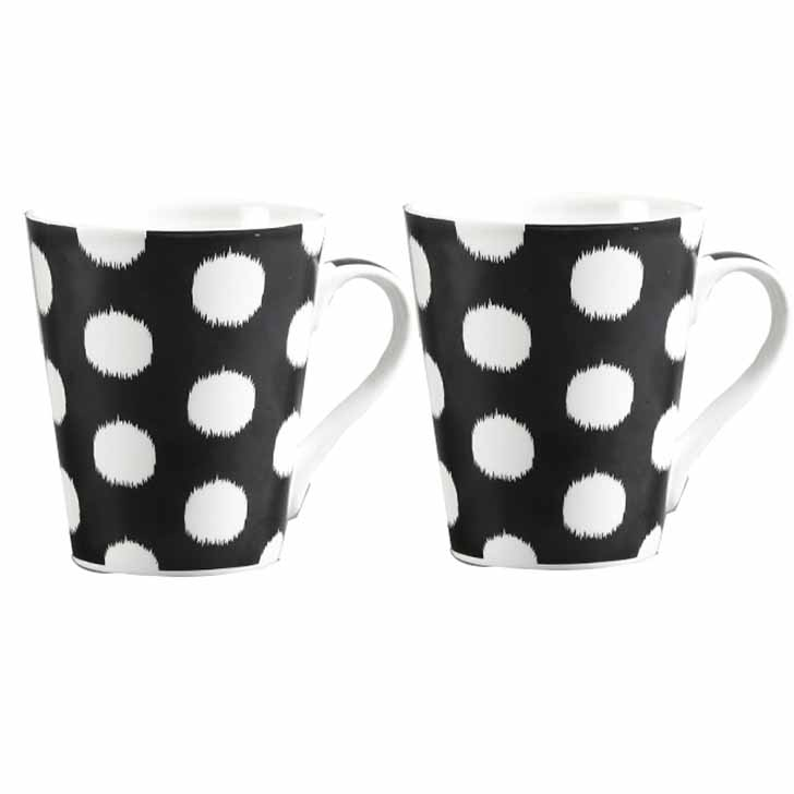 White Polka Dots Mug with Black Base
