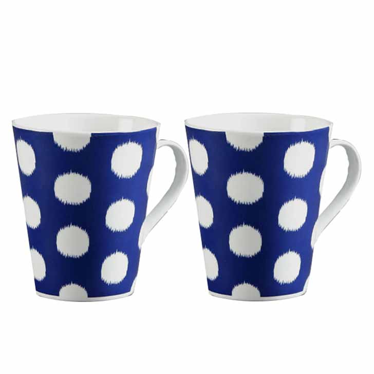White Polka Dots Mug with Blue Base