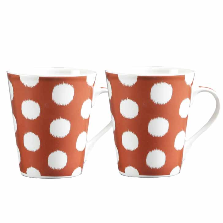 White Polka Dots Mug with Brown Base