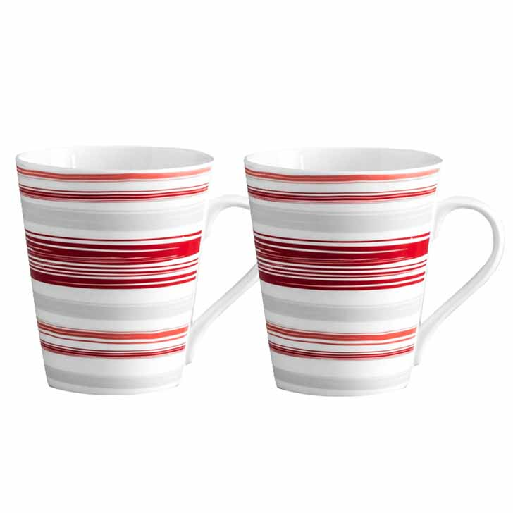 White and Red Circular Stripes Mug