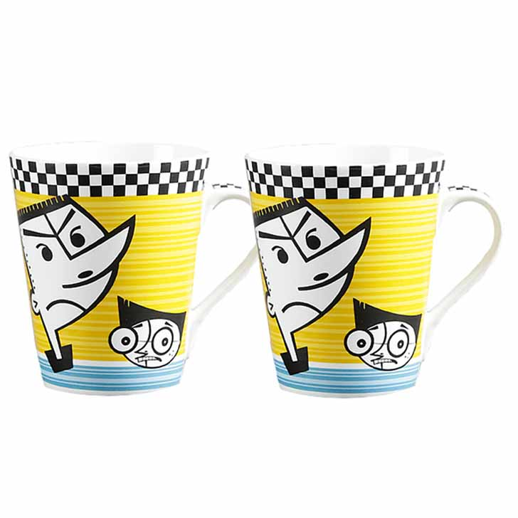 Multicolor Cartoon Print Mug with yellow Base