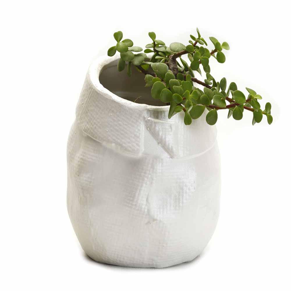 White Crumpled Look Oval Planter Ceramic Pot