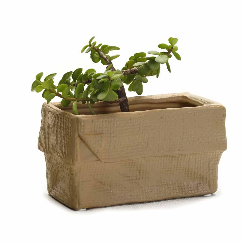 Crumpled Look Brown Rectangle Ceramic Planter Pot