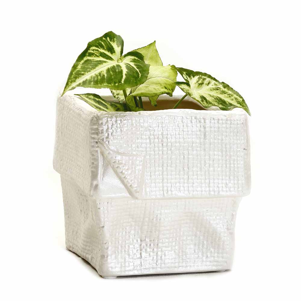 White Square Ceramic Planter Pot with a Crumpled look