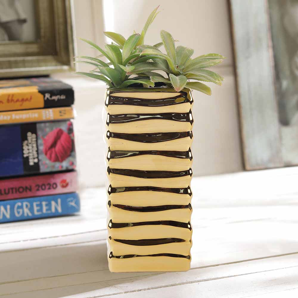 Golden Pretty Cylinderical 19 CM Planter Pot