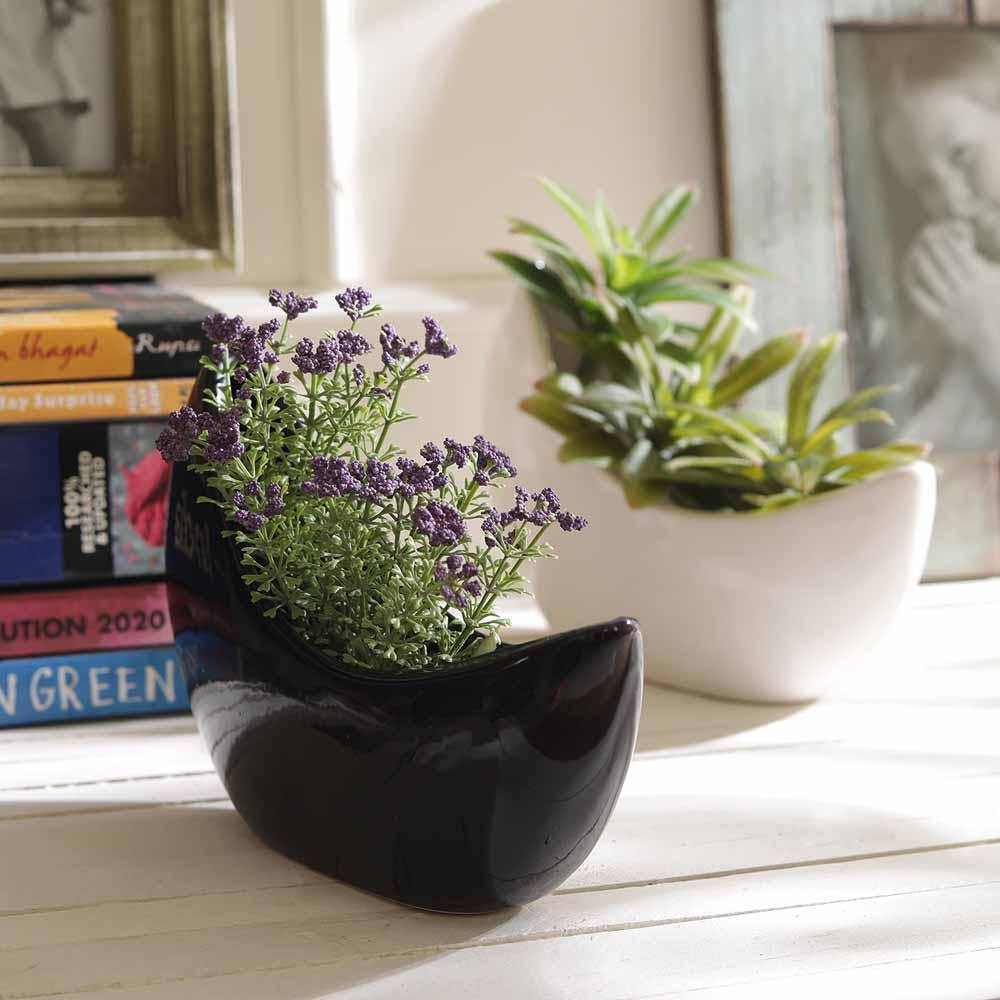 Set of 2 Black & White Boat Shape 13.5 CM Planter Pots